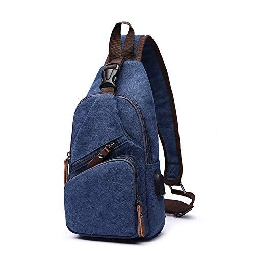 FANDARE Brusttasche Herren Schultertasche Sling Bag Rucksack mit USB Segeltuch Tasche Umhängetasche Sporttasche für Wandern,Abenteuer,Sport, Reisen und Joggen Dunkelblau