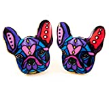 Soul Statement French Bulldog Earrings: Dog Stud Earrings for Women and Girls Colorful Enamel Print (Purple Pink)