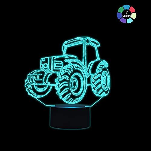 Coolzon Lámpara 3D Ilusión Luz Nocturna LED para Bebe Infantil Niños, Luz de Noche Lampara 3d de Noche 7 Colores Cambio Deco Lámpara de Escritorio Táctil con Cable USB, Tractor