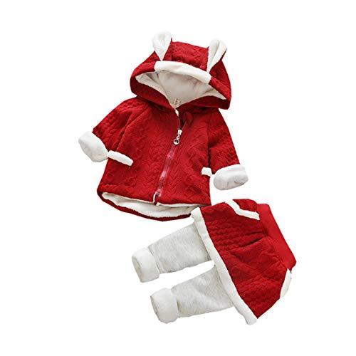 AIKSSOO Baby Meisje 2 Stuks Sets Konijn Dikke Fleece Jas met Rok Leggings Winter