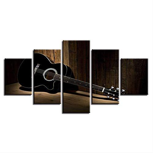 DGGDVP wooncultuur canvas HD gedrukte modulaire afbeeldingen muurkunst 5 stuks akoestische gitaar schilderijen voor woonkamer muziek poster 30x40cmx2 30x60cmx2 30x80cmx1 Geen frame.