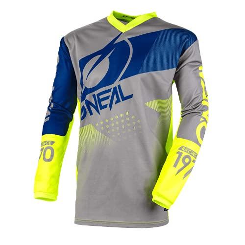 O'Neal | Camisa de Manga Larga de Mountainbike | MTB DH FR | Material Transpirable, protección Acolchada para los Codos | Element Youth Jersey Factor | Niños | Gris, Azul y Amarillo neón | Talla M