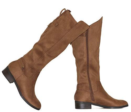 MVE Shoes Womens Over The Knee Stretch Boot - Trendy Low Block Heel Shoe - Comfortable Easy Heel Boot, Pewter Met 5.5