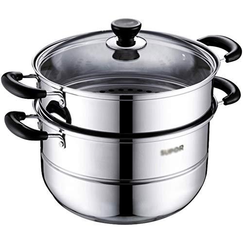 Z-W-DONG Grote capaciteit Pot van de Soep, Camping Cookware gehard glas Deksel roestvrij staal for gezond vlees/groente porties Cookware (Size : 26 * 26 * 27CM)