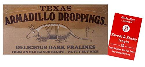 Texas Armadillo Droppings Delicious Dark Pecan Pralines Novelty Gift Box Plus Recipe Booklet Bundle - 6 Ounces