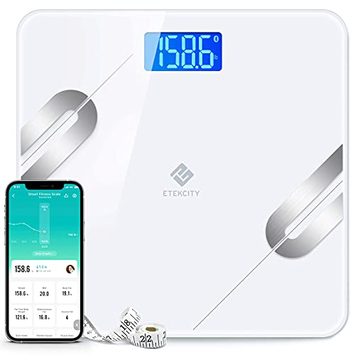Etekcity Smart Scale for Body Weight, Digital Bathroom Weight Scale for Weight Loss, Wireless Bluetooth Body Fat Scale, Body Fat Measurement Device with Smartphone Apps, Health Monitor, 400 lb