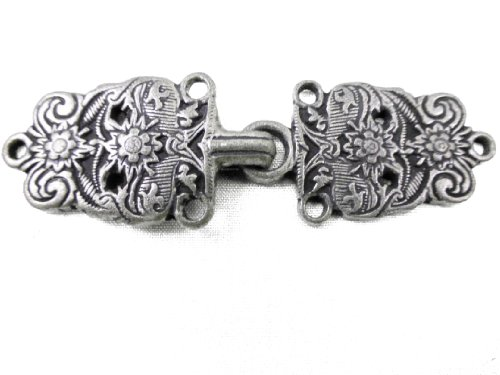 Antique Silver Finish Bavarian Cape or Cloak Clasp