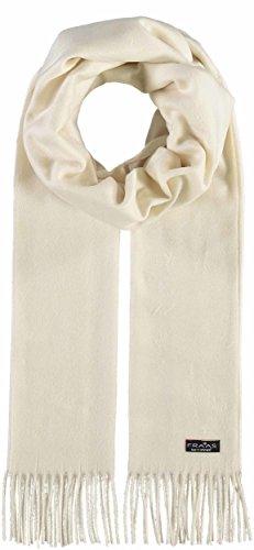 FRAAS Cashmink® Schal für Damen & Herren - Weicher als Kaschmir - 35 x 200 cm - Made in Germany - Perfekt für den Winter - Schal mit Fransen in Uni-Farben Naturweiss
