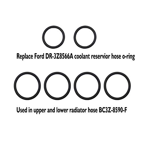 Hose Seal O-Ring Gasket Set 2 pcs DR-3Z8566A 4 pcs BC3Z-8590-F Expansion Tank Hose Quick Connect O-Ring Kit Seals for Ford F-150 F-350 F-450