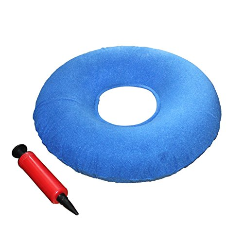 Donut cushion - Coccyx donut cushion -Ring cushion 15' with Pump and Travel Bag- inflatable cushion pillow for Hemorrhoids, Pregnancy, Tailbone Pain, Prostate and Sores-Use in the Home, Car or Office