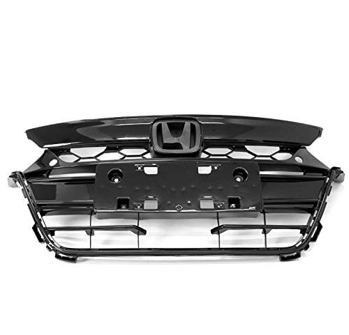 ZMAUTOPARTS OE Replacement Style Front Upper & Bumper Grille Grill Gloss Black For 2018-2019 Honda Accord Sedan