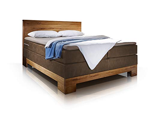 moebel-eins MANOLA Boxspringbett, Material Massivholz Eiche/Bezug Stoff Braun, 160 x 200 cm