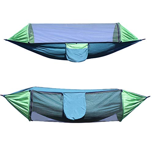 SanMiLa-Hammock with Mosquito Net/Insect Proof Net for Camping, Portable Backpack,with MultiF Unction Automatic Strut, Suitable for Terrace, Courtyard, Beach and Jungle(Double Green)