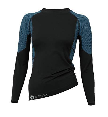 STARK SOUL Damen Seamless Ski Funktionswäsche, Outdoor Unterwäsche (S/M Hemd schwarz/blau)