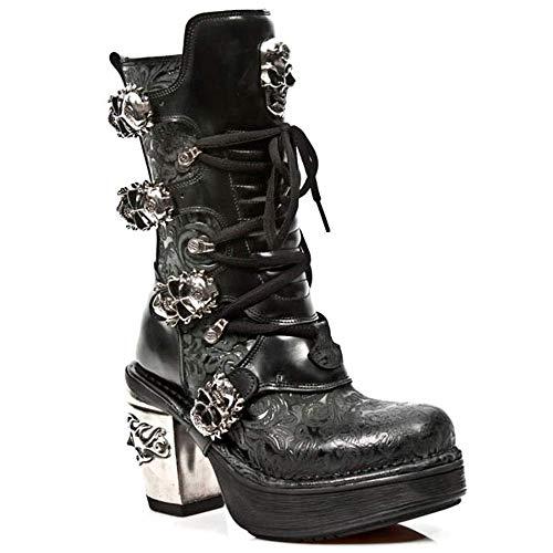 New Rock Newrock Damen Leder 8366-S1 Schwarz Stiefel Stickerei- Style Goth Emo Biker Stiefel (6 UK / 39 EU)