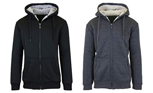 SMC 2PK Sherpa Lined Fleece Heavy Weight Hoodies, Black/Charcoal, Large
