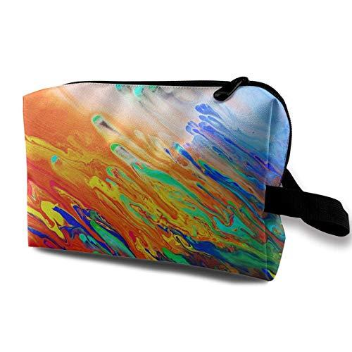 XCNGG Bolsa de cosméticos para jóvenes Exquisitas bolsas de maquillaje de viaje Bolsas de aseo multifunción Colorido Tie Dye Arte de acuarela