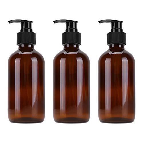 Cabilock 250ML Bernstein Glasflasche Seifenspender wiederbefüllbar Schaumseifenspender Spülmittelspender Pumpflasche für Kosmetik Shampoo Spülung Cremes Flüssigkeit Braun 3 Stück