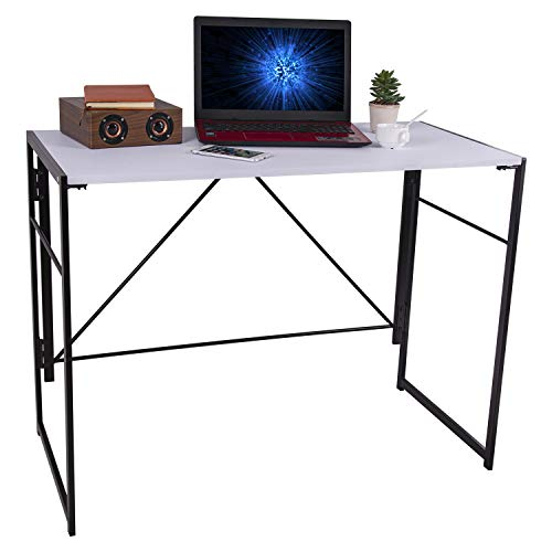 iPEGTOP Foldable Writing Desk, 39.4' Home Office Folding Study Computer Desks, Easy Assembly Working Desktop for Dorm, College, Notebook Work, No Assembly & Space Saving Design, White