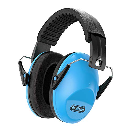 Dr.meter EM100 Kids Protective Earmuffs with Noise Blocking Children Ear muffs for Sleeping, Studying, Shooting, Babies 27NRR Adjustable Head Band, Blue
