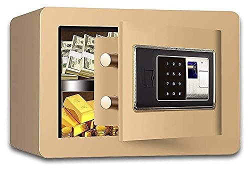 Caja de cerradura electrónica de acero ignífugo Caja fuerte digital, huella dactilar biométrica, caja de cerradura grande de 35 x 25 x 25 cm con pantalla LED, construcción de acero sólido (Color: Marr