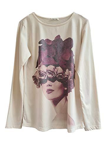 Heimatliebe Damen Langarmshirt mit Glitzerdruck, Farbe:Latte, Größe:M