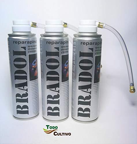 Todo Cultivo Bradol antipinchazo. Pack de 3 Unidades. Spray repara pinchazos valido para Coches, Motos y Bicicletas. Destaca por la sencillez de su manejo.