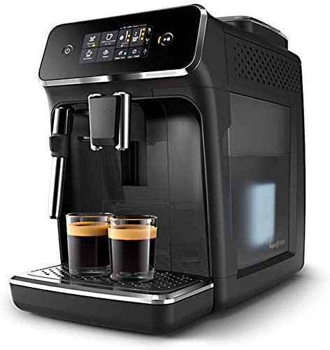 XHCP Coffee Machine Coffee Maker Coffee Machines Fully Automatic Italian Grinding Coffee Machine with Touchscreen Display with Milk Frother System One Button Cappuccino-Bblack (Color : Bblack)