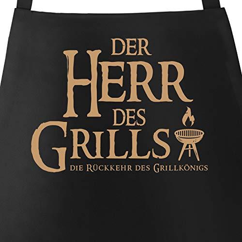 Preisvergleich Produktbild MoonWorks Grill-Schürze für Männer mit Spruch Der Herr des Grills Grillkönig schwarz Unisize