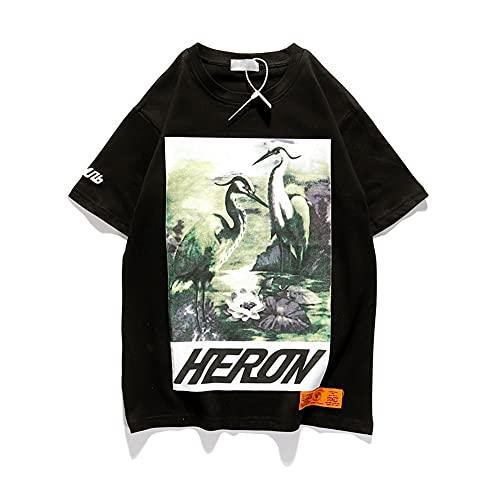 HP Green Crane t Shirt Printing Tee Hombres Mujeres Hip-hop BF Styles Algodón Camiseta Manga Corta Negro