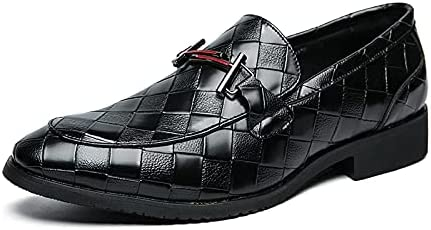 Men Classic Slip on Loafer Cap Toe Oxfords Shoes Street Lightweight Cansual Sneaker (Black, Numeric_8_Point_5)