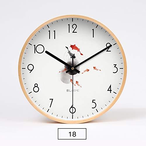 SJQ Massivholz atmosphärisch Kunst Quarz Uhr Uhr Uhr Uhr Esszimmer Individuelle Kreativität Mode Haushalt Einfache Hängende Malerei, 12 Zoll, Achtzehn