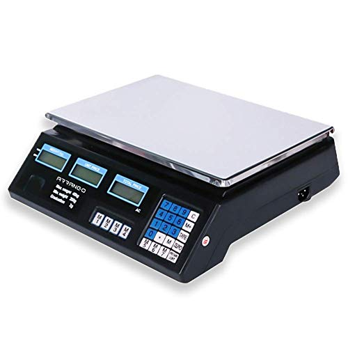 AOMEX Bilancia Elettronica Digitale Professionale con batteria Da 5 Gr A 40 Kg In Acciaio Inox