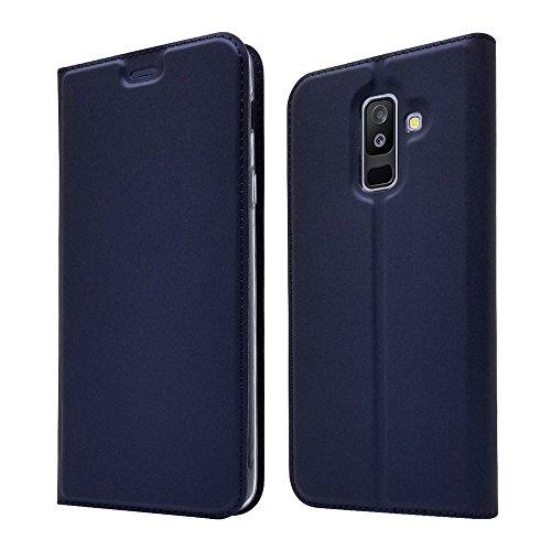 LAGUI Compatibile per Cover Samsung Galaxy A6 Plus 2018, Ultra Sottile Custodia a Portafoglio Semplice ed Elegante. Blu