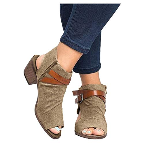 Booties for Womens Cutout Side Low Block Chunky Heel Open Toe Ankle Strap Back Zipper Ankle Boots