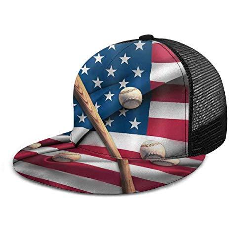Unisex Baseball Cap Baseballschläger auf 3D-verstellbaren Baseballmützen der amerikanischen Nationalflagge Hip Hop Snapback Flatbrim Hats