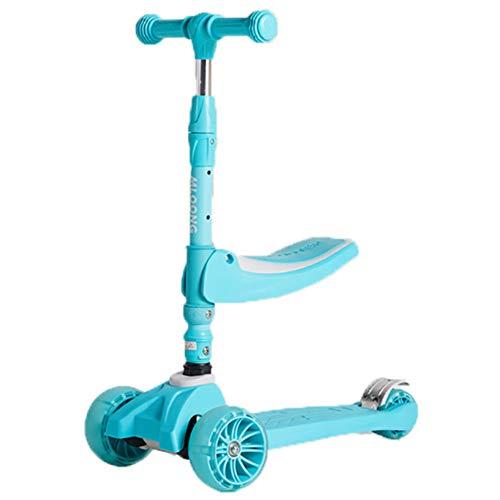 HFJKD Kid Equilibrio Vespa, 3 Ruedas Scooter, con Asiento Plegable y Desmontable, de Altura Ajustable, 2-en-1 Kick Scooter, para niños y niñas de 2-8 Años de Edad