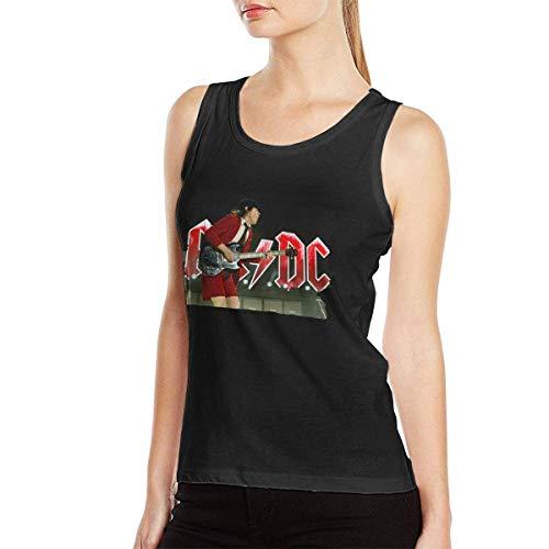 yesterday ACDC-Shake Coachella Women Music Style Band Basic Sleeveless T-Shirt Muscle Shirt Gym T-Shirt Black Camisetas y Tops(Small)