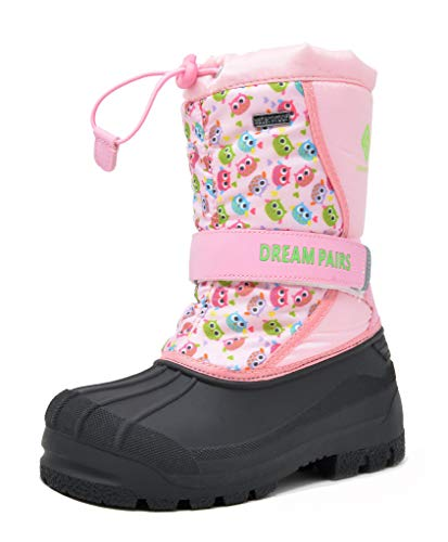 DREAM PAIRS Big Kid Kamick Pink Owl Mid Calf Waterproof Winter Snow Boots Size 6 M US Big Kid