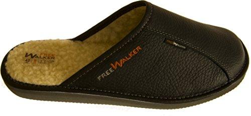 FreeWalker ®   Herren Hausschuhe Leder, 100% Schafwolle (46, Schwarz)
