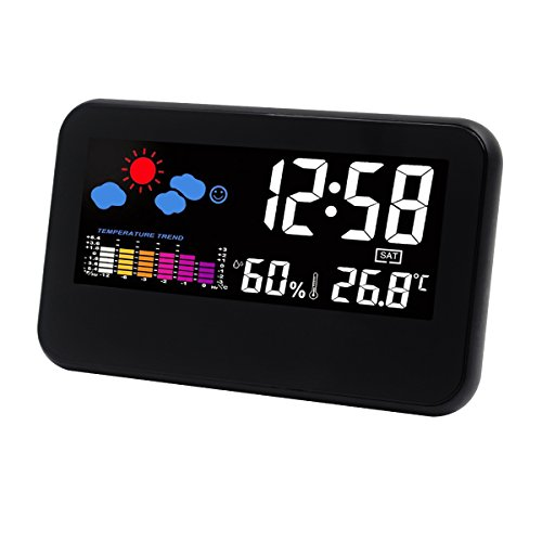 Hippih Weather Station Digital Desk Alarm Clock with USB Charging/Battery Operated/LED Night Light/Temperature/Humidity/Date (Black)