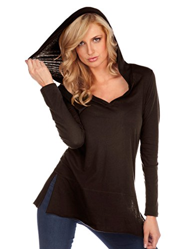 Kavio! Damen-Hoodie, durchscheinend, Jersey-Einsatz, Saum, langärmelig, mit Knopfleiste - Braun - Medium