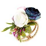Hearsbeauty Pulsera de estilo rural con forma de ramillete para boda, fiesta, dama de honor, hermanas, flores, color azul marino