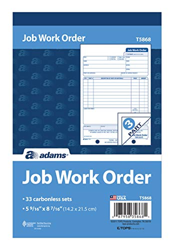 Adams Job Work Order Book, 3-Part Carbonless, White/Canary/White, 5-9/16 x 8-7/16 Inches, 33 Sets (T5868)