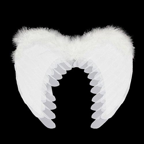Vejaoo Deluxe Real Alas de ángel Blancas de Plumas de 60 cm alas de ángel alas de Hada
