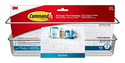 Command Shower Caddy, Satin Nickel, 1-Caddy, 1-Prep Wipe, 4-Water-Resistant Strips, Organize Damage-Free
