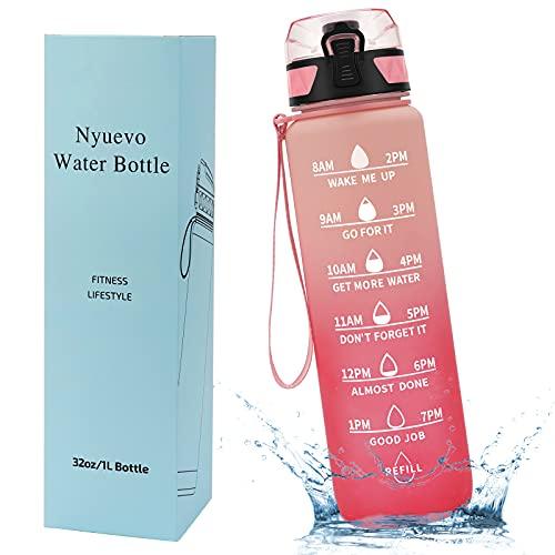 Nyuevo 32oz/1L Motivational Water Bottle, Leakproof Drinking Bottle, BPA...