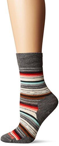 Smartwool Women's Margarita Crew Socks - Merino Wool Performance Socks (MEDIUM GRAY HEATHER-BRIGHT CORAL, L)