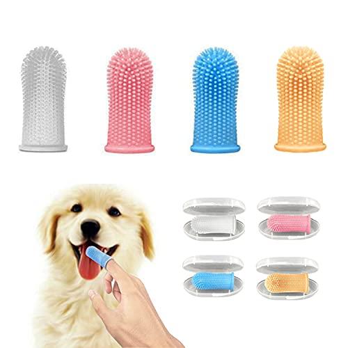 Bileumec spazzolino da denti per cani, kit spazzolino da dito (confezione da 4), setole completamente avvolte, denti facili da pulire, cure dentistiche per cuccioli, gatti e piccoli animali domestici