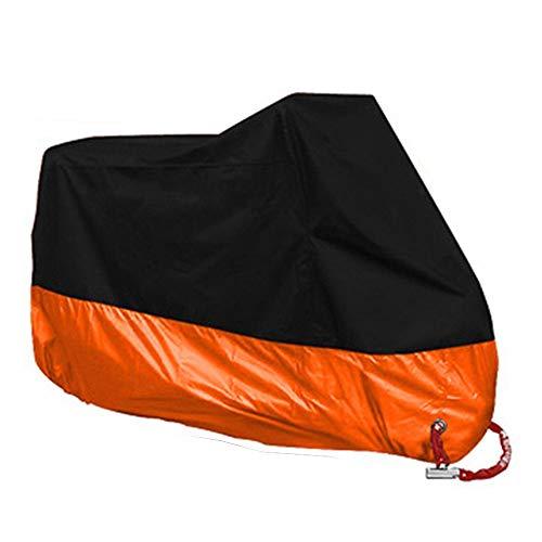 HIOD 190T Cubiertas Impermeables para Motocicletas Motores Polvo Lluvia Nieve Cubierta Protectora UV Interior Exterior,Orange,3XL